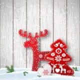 Fond de Noël, petites décorations dénommées scandinaves dans le mur en bois blanc avant d'OD, illustration Photo stock