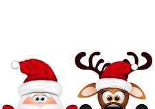 Fond de Noël Santa et renne drôles illustration libre de droits