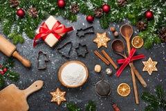 Fond de Noël Tableau pour des biscuits de cuisson de vacances photographie stock libre de droits