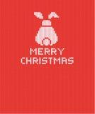 Fond de Noël tricoté par rouge avec le lapin blanc Vecteur ENV 10 illustration libre de droits