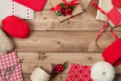 Fond de Noël Tricotant et kit de couture Image libre de droits