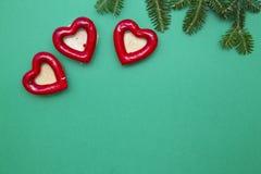 Fond de Noël vert d'un-couleur ou de nouvelle année avec la conception minimalistic Photo libre de droits