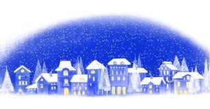 Fond de Noël Ville d'hiver Horizontal urbain de l'hiver Paysage urbain illustration stock