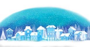 Fond de Noël Ville d'hiver Horizontal urbain de l'hiver Paysage urbain Photographie stock