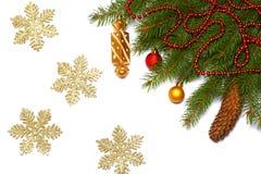Fond de Noël Vue supérieure avec l'espace de copie arbre de sapin avec le cône d'isolement sur le fond blanc Photographie stock libre de droits