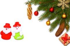 Fond de Noël Vue supérieure avec l'espace de copie arbre de sapin avec le cône d'isolement sur le fond blanc Images stock