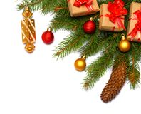 Fond de Noël Vue supérieure avec l'espace de copie arbre de sapin avec le cône d'isolement sur le fond blanc Photo libre de droits