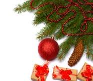 Fond de Noël Vue supérieure avec l'espace de copie arbre de sapin avec le cône sur le fond blanc Photos libres de droits