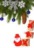 Fond de Noël Vue supérieure avec l'espace de copie arbre de sapin avec le cône sur le fond blanc Images libres de droits