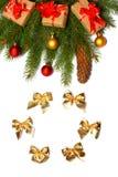 Fond de Noël Vue supérieure avec l'espace de copie arbre de sapin avec le cône sur le fond blanc Image libre de droits