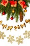 Fond de Noël Vue supérieure avec l'espace de copie arbre de sapin avec le cône sur le fond blanc Photographie stock