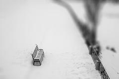 Fond de noir blured par hiver et de wight Banc en parc Sel Images libres de droits