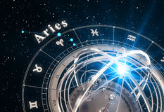 Fond de noir d'Aries And Armillary Sphere On de signe de zodiaque Images stock