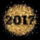 Fond 2017 de noir de carte de voeux de nouvelle année Photo stock