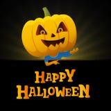 Fond de noir de partie de Halloween Homme avec une tête de potiron Image libre de droits