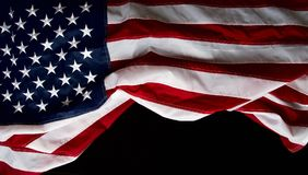 Fond de noir de drapeau des USA image stock