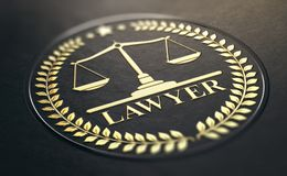 Fond de noir de Gold Symbol Over de recommandation ou d'avocat illustration stock