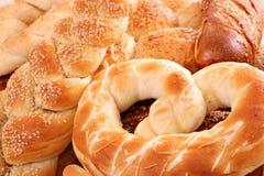 Fond de nourriture de bretzel et de petit pain Image stock