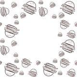 Fond de nourriture Illustration tirée par la main d'hamburgers pour votre conception photo libre de droits
