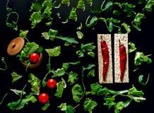 Fond de nourriture de laitue et d'arugula closeup photos stock