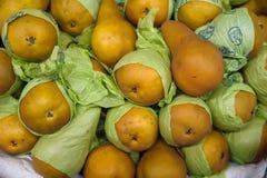 Fond de nourriture - poires jaunes de Bosc également connues sous le nom de poires de Kaiser photographie stock libre de droits