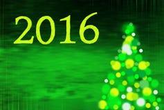 Fond de nouvelle année avec l'arbre de Noël et l'écriture 2016 Images libres de droits