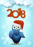 Fond de nouvelle année avec le hibou et le texte mignons Image stock