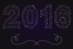 Fond 2016 de nouvelle année des étoiles lumineuses et des remous illustration libre de droits