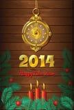 Fond de nouvelle année avec l'horloge et les bougies Image stock