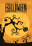Fond de nuit de Halloween avec la pleine lune et les potirons Photographie stock