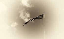 Fond de ondulation de drapeau de la Norvège de sépia Images stock