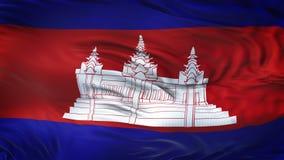 Fond de ondulation réaliste de drapeau du CAMBODGE Images libres de droits