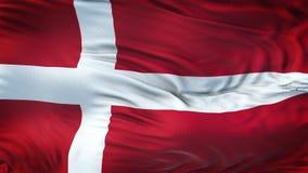 Fond de ondulation réaliste de drapeau du DANEMARK Photographie stock libre de droits