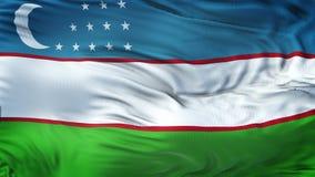 Fond de ondulation réaliste de drapeau de l'OUZBÉKISTAN Images libres de droits