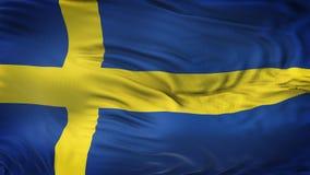Fond de ondulation réaliste de drapeau de la SUÈDE Image libre de droits
