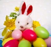 Fond de Pâques avec le lapin, les oeufs et la fleur de peluche photo libre de droits