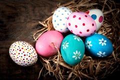 Fond de Pâques avec les oeufs et le copyspace Joyeuses Pâques ! Photo stock