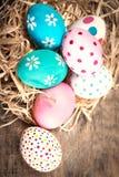 Fond de Pâques avec les oeufs et le copyspace Joyeuses Pâques ! Photographie stock libre de droits