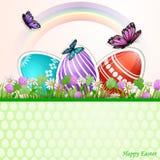 Fond de Pâques avec les oeufs et le papillon de pâques sur des fleurs illustration libre de droits