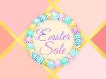 Fond de Pâques avec les oeufs lumineux vente de Pâques de lettrage avec le lapin vecteur coloré à la mode pour le contexte d'offr illustration stock
