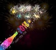 Fond 2018 de pain grillé de champagne de nouvelle année Photo libre de droits