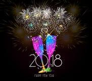 Fond 2018 de pain grillé de champagne de nouvelle année Photos stock