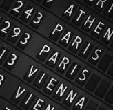 Fond de panneau d'affichage de départ d'aéroport Images libres de droits
