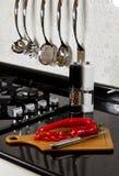 Fond de panneau moderne de cuisine et de découpage Photographie stock libre de droits