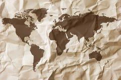 Fond de papier avec la carte Image stock