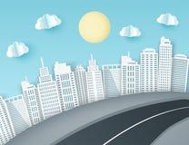 Fond de papier d'art avec la vue de ville Nuages de papier pelucheux, route, illustration de vecteur