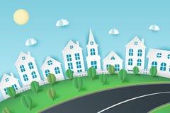 Fond de papier d'art avec la vue de ville Nuages de papier pelucheux, route, illustration stock
