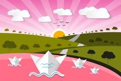 Fond de papier de nature de vecteur avec le lac illustration stock