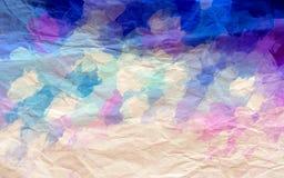 Fond de papier froissé bleu, pourpre et blanc illustration stock