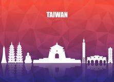 Fond de papier global de voyage et de voyage de point de repère de Taïwan Vect illustration stock